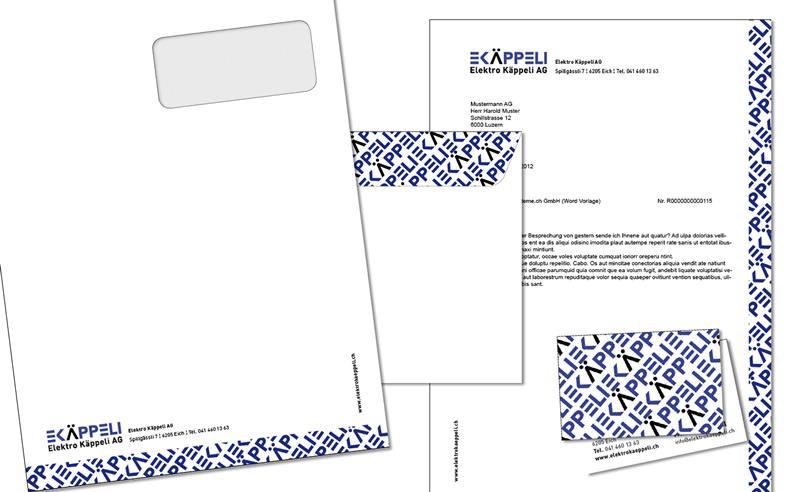 Gestaltung Briefumschlag Elektro Käppeli